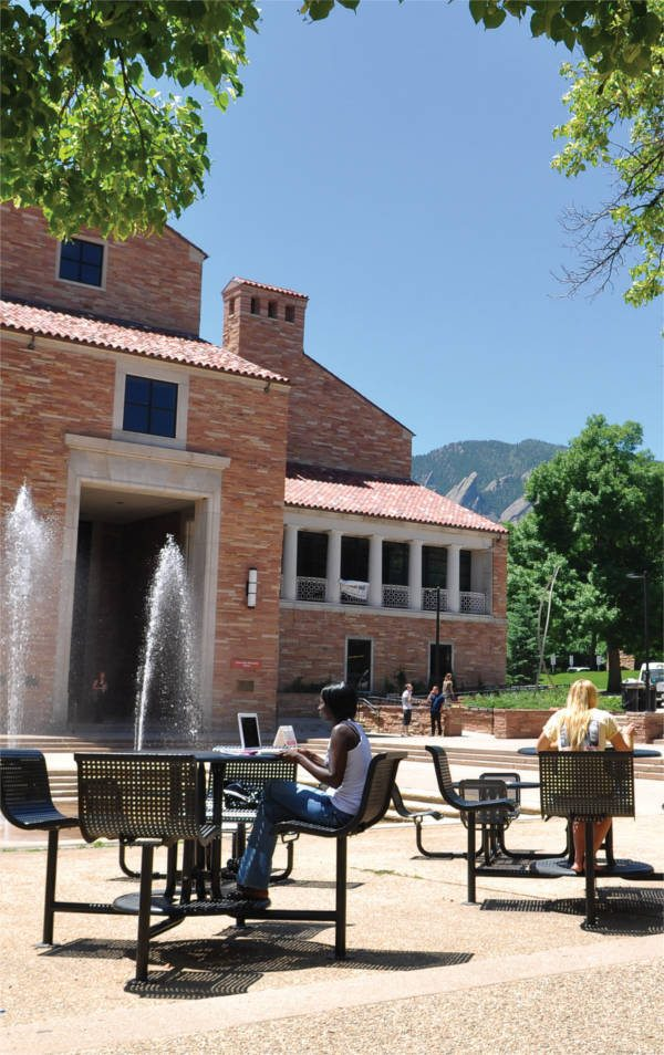 court outside of Norlin Library at the University of Colorado Boulder